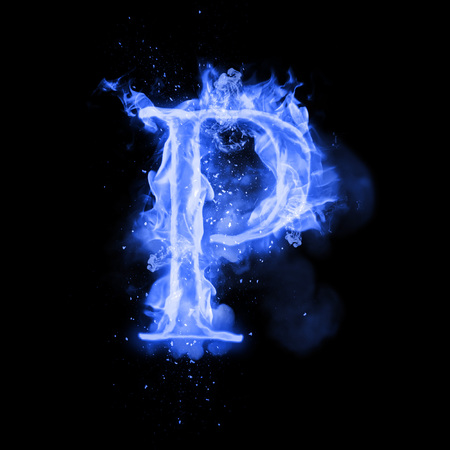 Fire letter P of burning blue flame. Flaming burn font or bonfire alphabet text with sizzling smoke and fiery or blazing shining heat effect. Incandescent cold fire glow on black background
