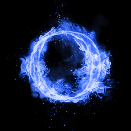 Fire letter O of burning blue flame. Flaming burn font or bonfire alphabet text with sizzling smoke and fiery or blazing shining heat effect. Incandescent cold fire glow on black background