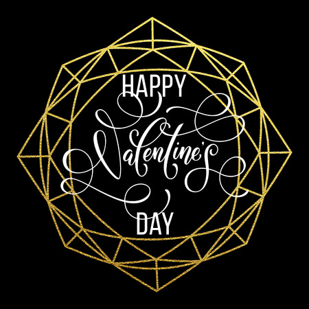 Luxury gold Valentine Day text lettering on golden glitter crystal frame ornament for black greeting card