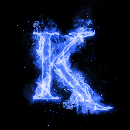 Fire letter K of burning blue flame. Flaming burn font or bonfire alphabet text with sizzling smoke and fiery or blazing shining heat effect. Incandescent cold fire glow on black background Foto de archivo
