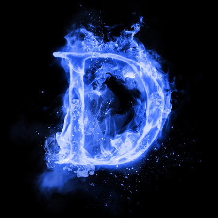 Fire letter D of burning blue flame. Flaming burn font or bonfire alphabet text with sizzling smoke and fiery or blazing shining heat effect. Incandescent cold fire glow on black background