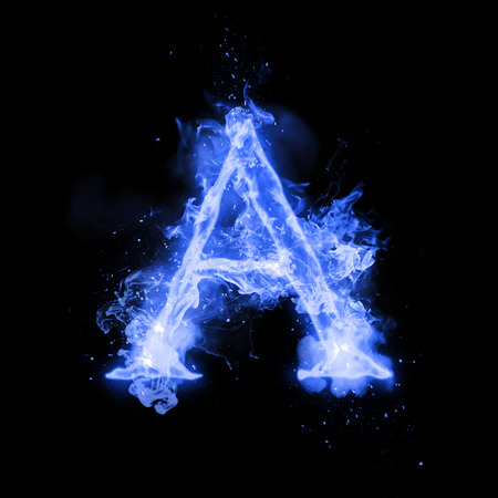 Fire letter A of burning blue flame. Flaming burn font or bonfire alphabet text with sizzling smoke and fiery or blazing shining heat effect. Incandescent cold fire glow on black background Stok Fotoğraf - 69948569