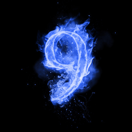 flame burn: Fire number 9 nine of burning blue flame. Flaming burn font or bonfire alphabet text with sizzling smoke and fiery or blazing shining heat effect. Incandescent cold fire glow on black background