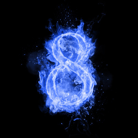 flame burn: Fire number 8 eight of burning blue flame. Flaming burn font or bonfire alphabet text with sizzling smoke and fiery or blazing shining heat effect. Incandescent cold fire glow on black background Stock Photo