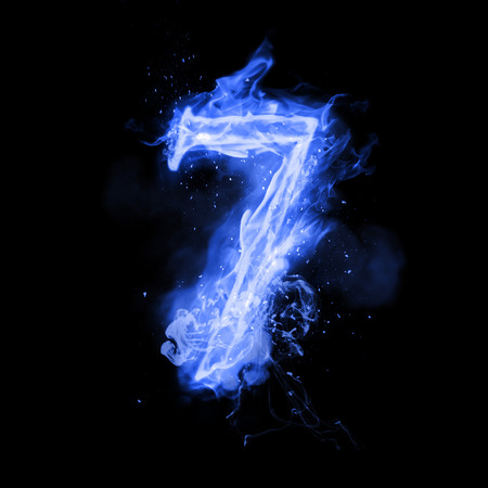 flame burn: Fire number 7 seven of burning blue flame. Flaming burn font or bonfire alphabet text with sizzling smoke and fiery or blazing shining heat effect. Incandescent cold fire glow on black background