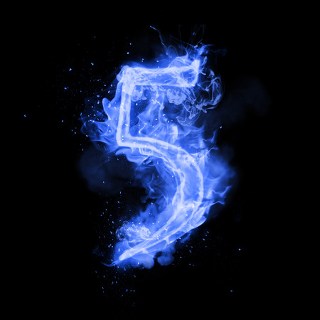 Fire number 5 five of burning blue flame. Flaming burn font or bonfire alphabet text with sizzling smoke and fiery or blazing shining heat effect. Incandescent cold fire glow on black background Stock Photo