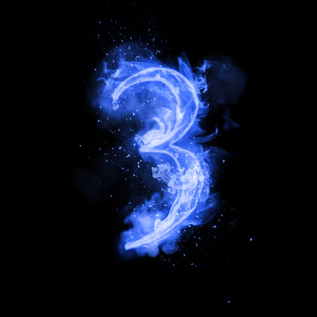 flame burn: Fire number 3 three of burning blue flame. Flaming burn font or bonfire alphabet text with sizzling smoke and fiery or blazing shining heat effect. Incandescent cold fire glow on black background