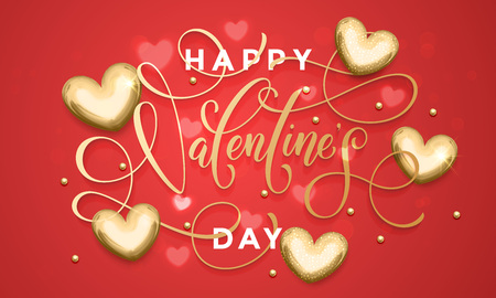 Luxury Valentines Day text lettering on golden hearts pattern for premium red greeting card