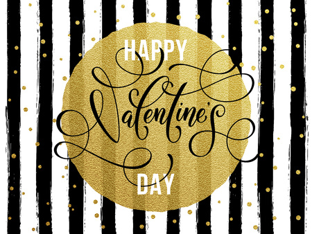 rosa negra: Gold Valentine Day calligraphy text with greeting card on black watercolor stripes background with golden foil glitter dots Vectores