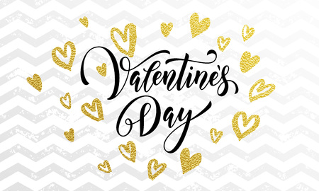 white day: Gold Valentine Day calligraphy text and golden hearts on zig zag wavy background for luxury white greeting card