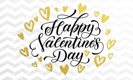valentine day: Valentine Day golden hearts and gold luxury calligraphy text on zig zag pattern for white premium greeting card