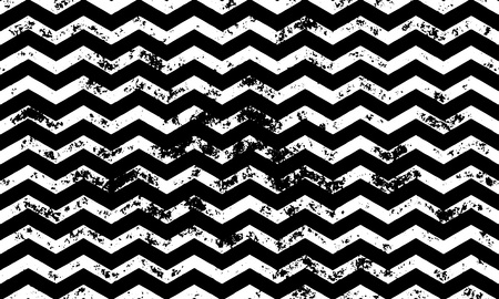 vintage wave: Zig zag wavy seamless pattern on abstract grunge wave black and white geometric lines texture for greeting card Illustration