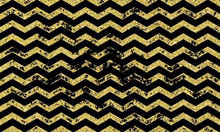 Gold zig zag wavy vector seamless pattern on golden abstract grunge wave of black geometric glitter lines texture for greeting card