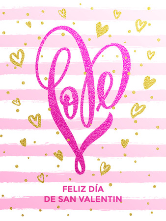 Vector gold luxury heart Valentine love Spanish lettering text on golden wavy pattern for premium pink black greeting card
