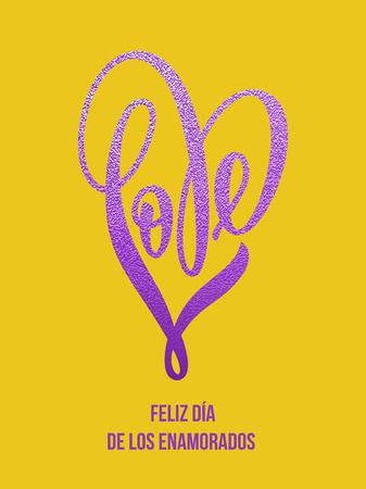 glitz: Premium glitter heart Valentine love Portuguese lettering text on vector luxury yellow card