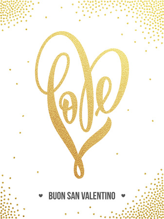 Vector gold luxury heart Valentine love Italian lettering text on golden sequins pattern for premium greeting card