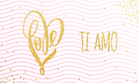 Vector gold luxury heart Valentine love Italian lettering text on golden wavy pattern for premium pink greeting card Illusztráció