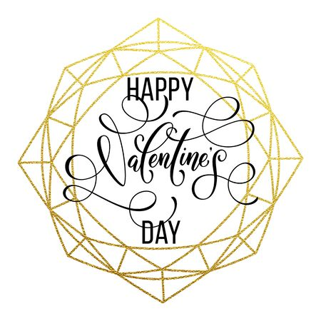 Luxury gold Valentine Day text lettering on vector golden glitter crystal frame ornament for white greeting card