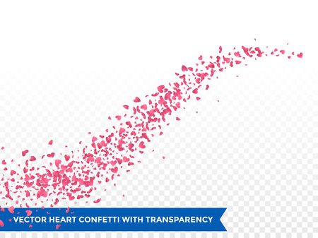flower banner: Pink hearts trace or vector wedding love comet trace confetti trail transparent background