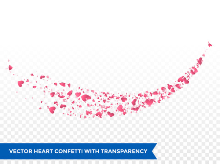 wedding love: Pink hearts trace or vector wedding love comet trace confetti trail transparent background