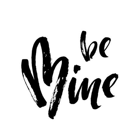 Be mine vector heart text calligraphy lettering for Valentine card