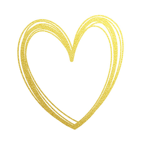 Gold heart or Valentine glitter on white premium card