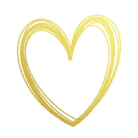 Złoty serca lub Valentine glitter na białej karty premium