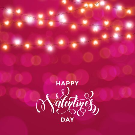 Hearts garland for Valentines Day vector card on premium pink lights background