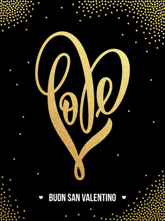 Vector gold luxury heart Valentine love Italian lettering text on golden sequins pattern for premium black greeting card