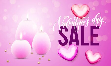 Valentines Day sale vector card of hearts and candles on premium pink glitter sparkling lights background