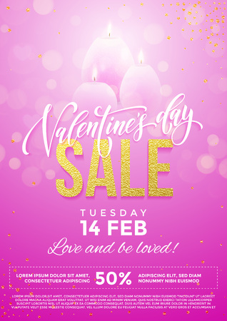 enamored: Valentines Day sale vector poster of pink hearts and candles on premium glitter sparkling lights background Illustration