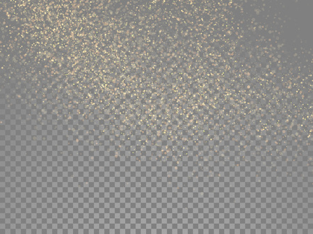 glowing star: Particles glitter of gold glowing magic shine and star dust on vector transparent background Illustration