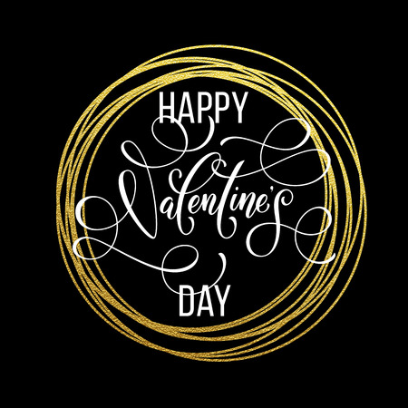 Premium gold Valentine Day lettering on with vector golden circle frame for luxury black greeting card
