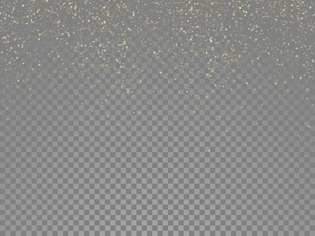 glowing star: Particles glitter of gold glowing magic shine and star dust on vector transparent background Stock Photo