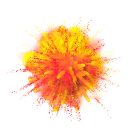 Color powder dust explosion isolated on white background. Red and yellow fire paint coloured explode for Holi Festival Indian Holiday