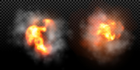 Vector fire flame explosion effect on black background Illustration