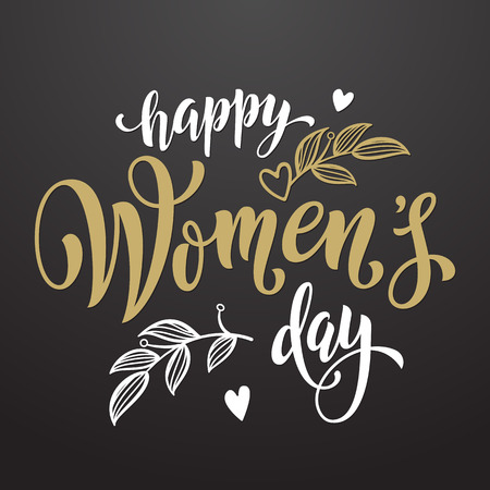 Women Day greeting card text calligraphy and hearts. Lettering for 8 March Woman holiday premium black background