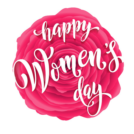 Women Day greeting card of red rose flower background. Text lettering for 8 March Woman holiday