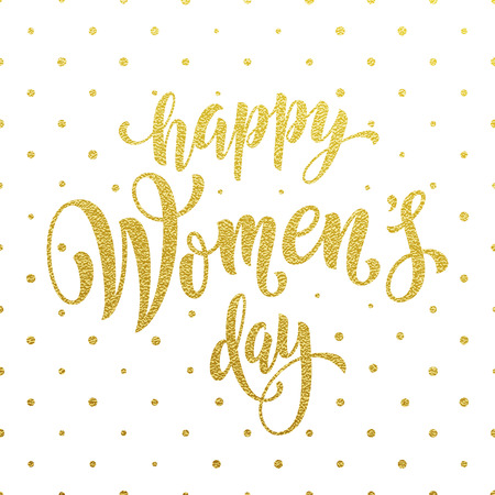 gold woman: Women Day gold glitter greeting card and text lettering. Golden pattern on luxury white background for 8 March Woman holiday Illustration