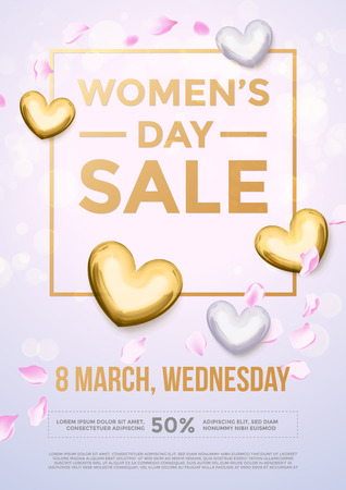 gold woman: Women Day sale gold glitter poster and text lettering. Golden pattern on luxury white background for 8 March Woman holiday discount
