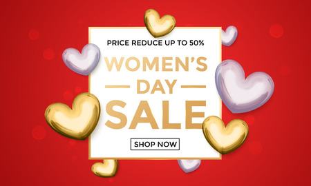 gold woman: Women Day sale web banner template for online shop discount of gold glitter heart pattern on luxury red background for 8 March Woman holiday discount Illustration