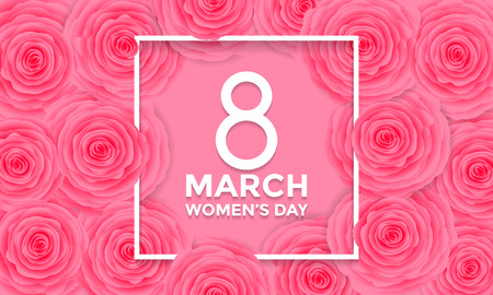Women Day 8 March text lettering on flowers pattern background for greeting card Vectores