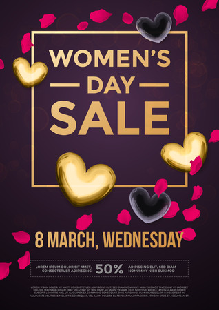glitter heart: Women Day sale poster of gold glitter heart pattern on luxury flower background for 8 March Woman holiday discount