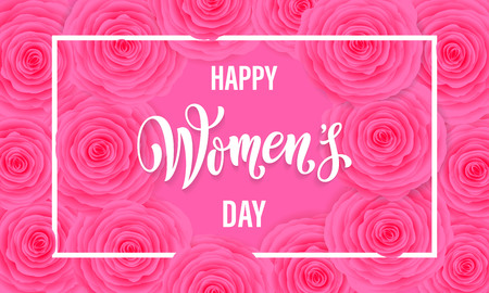 Women Day greeting card of flowers pattern background. Text lettering for 8 March Woman holiday Illustration