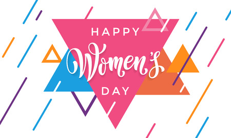 Women Day greeting card on triangle pattern background. 8 March text lettering