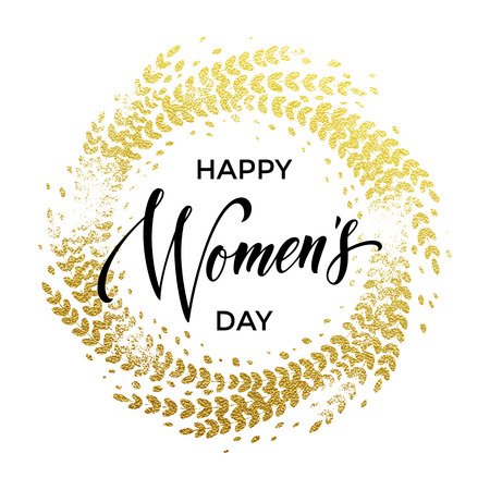 gold woman: Women Day gold decoration wreath of glitter for greeting card. 8 March Woman holiday text lettering on luxury white background