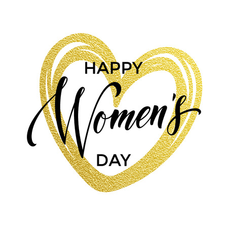 gold woman: Women Day gold glitter heart and text for greeting card. Luxury white background for 8 March Woman holiday