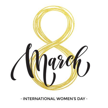 8 de marzo de brillo del oro para la tarjeta de felicitación del día de las mujeres y el texto de letras de lujo