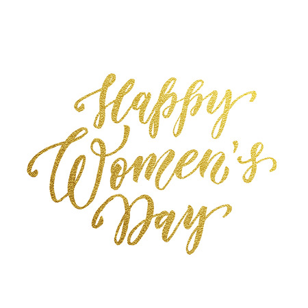 gold woman: Women Day gold glitter text lettering. Golden calligraphy for 8 March Woman holiday greeting card