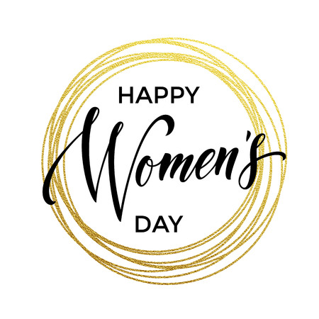 gold woman: Women Day gold glitter greeting card and text lettering. Golden circle rings on luxury white background for 8 March Woman holiday